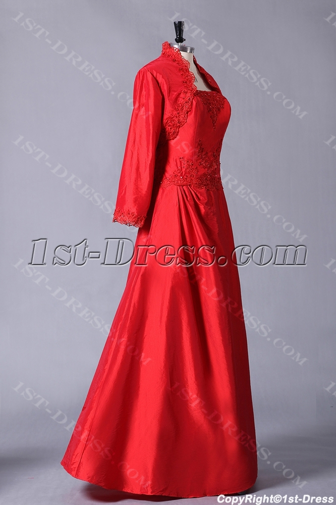 Red Plus Size Mother of Groom Gown with Jacket for Winter:1st-dress.com