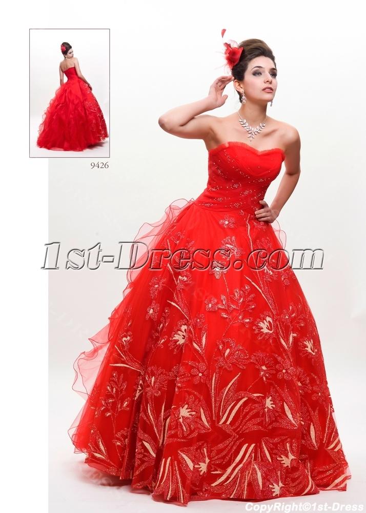 Red Princess Plus Size Quinceanera Dress1st Dress