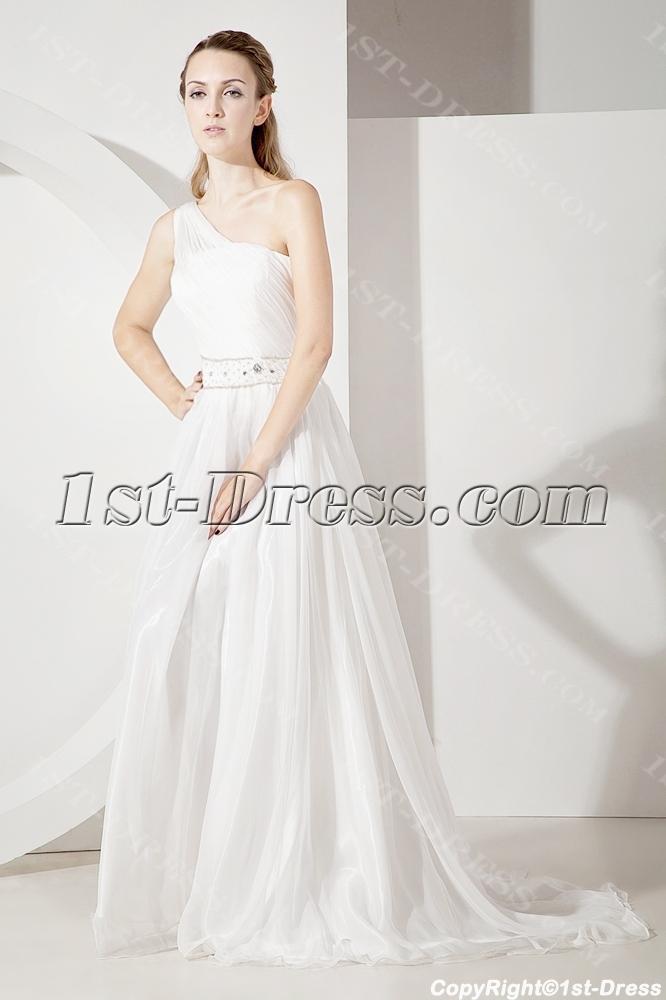 Romantic one shoulder beach wedding dress 1st for One shoulder beach wedding dress