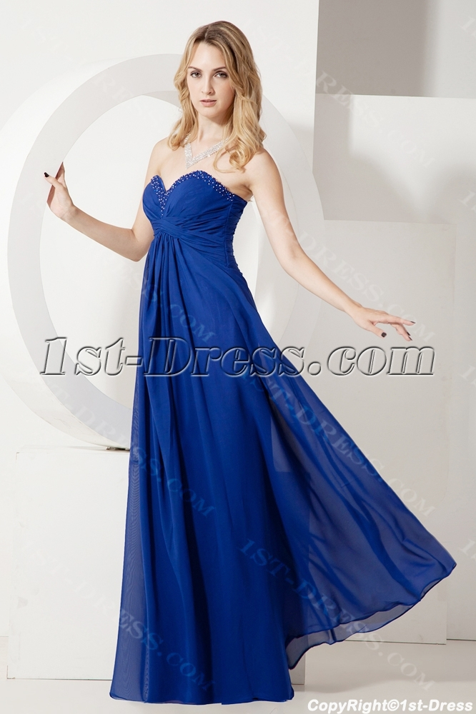 Royal Blue Long Chiffon Maternity Evening Dresses:1st-dress.com