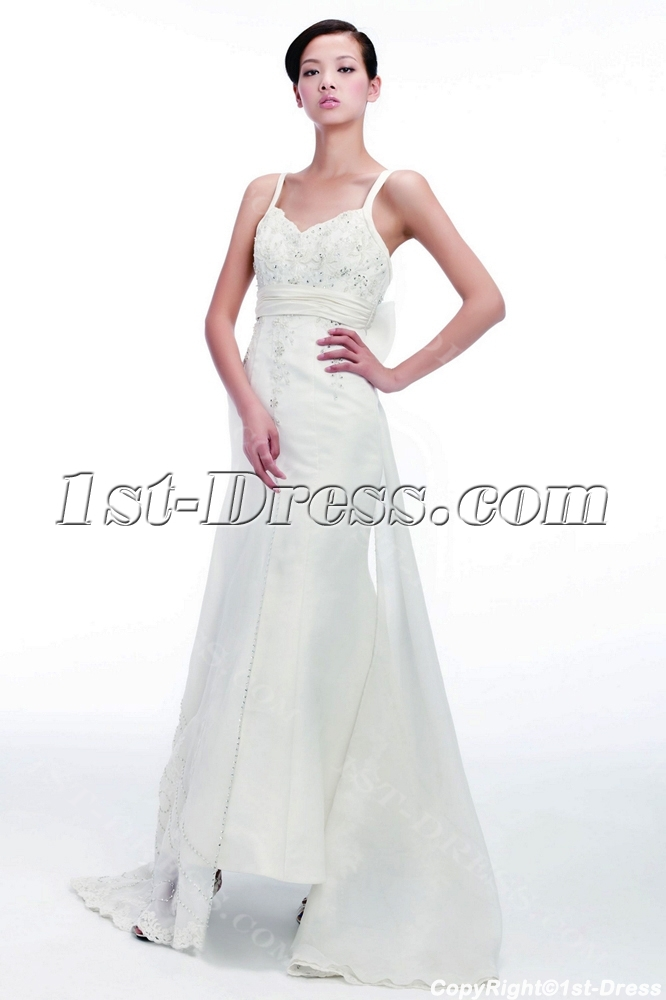 Sheath civil wedding dresses with spaghetti straps 1st for Bridal dress for civil wedding