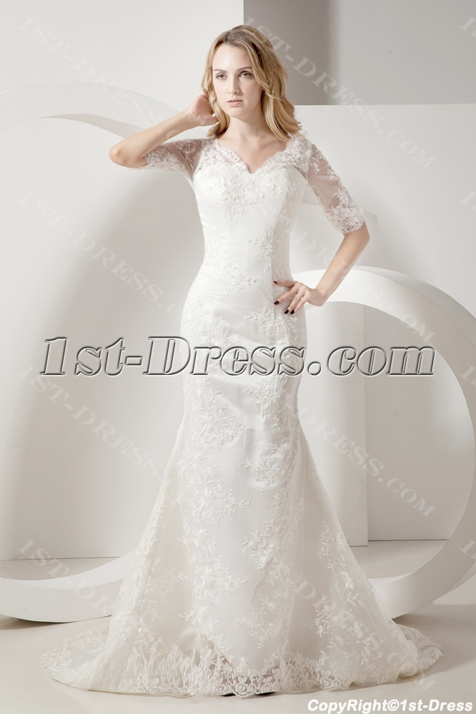 Sheath lace mormon wedding dresses with sleeves 1st for Wedding dresses with sleeves for sale