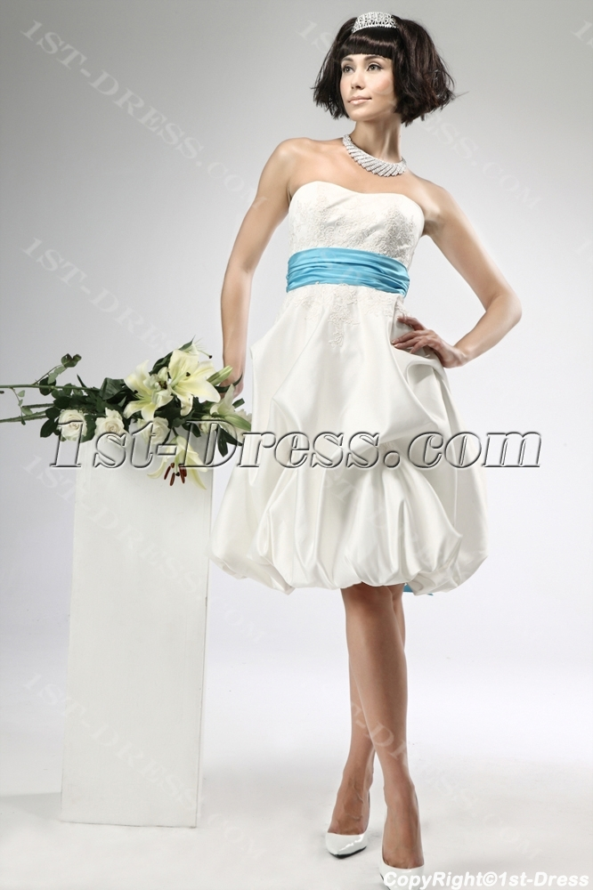 Short satin civil wedding dresses with blue waistband 1st for Bridal dress for civil wedding