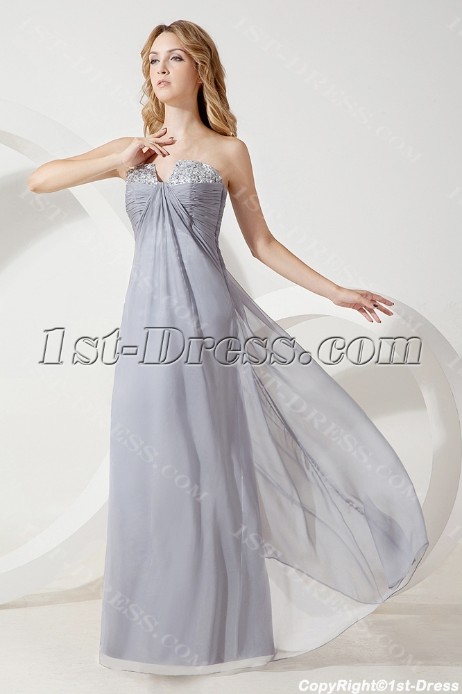 Silver Long Pregnant Bridesmaid Gown