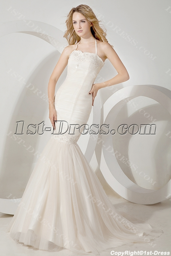 Simple Halter Mermaid Wedding Gown For Spring 1st Dress Com
