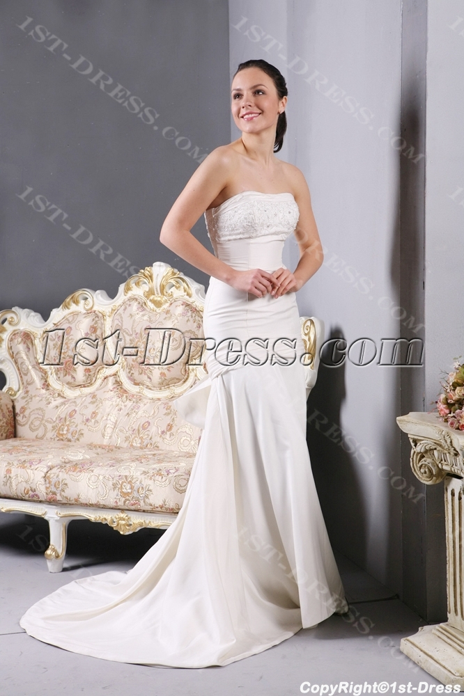 Simple sheath inexpensive wedding dresses with train 1st for Simple inexpensive wedding dresses
