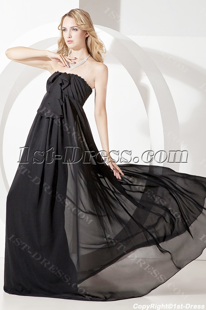 45e8c69a76f Simple Strapless Black Chiffon Maternity Prom Gown (Free Shipping)