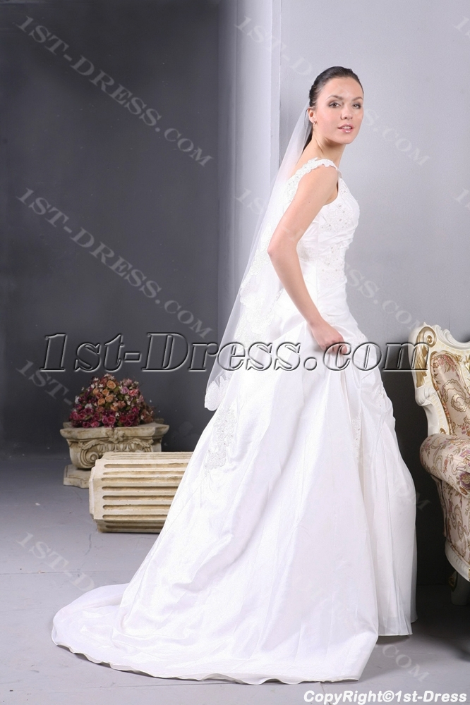 Taffeta Long Vintage Wedding Dress for Plus Size:1st-dress.com