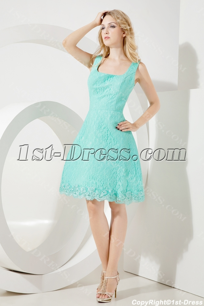 Teal Lace Short Beach Wedding Gown:1st-dress.com