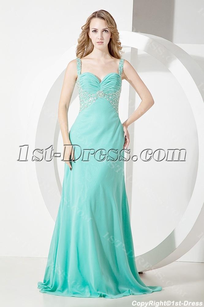Teal Long Graduation Dresses Plus Size:1st-dress.com