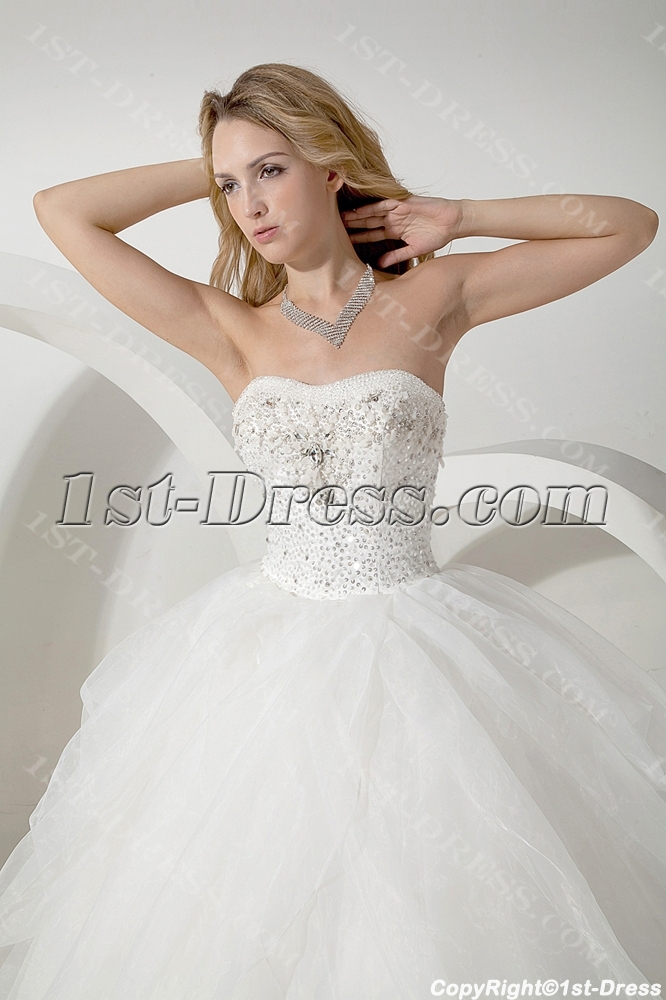 White Long Ball Gown Dress for Masquerade:1st-dress.com