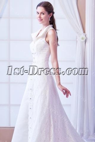 2014 Elegant Lace Princess Wedding Dresses with Keyhole