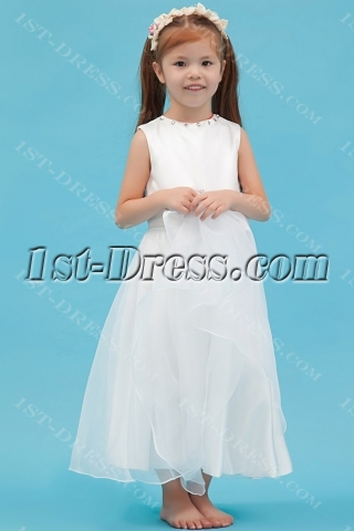 Ankle Length Cheap Flower Girl Dress with Bow