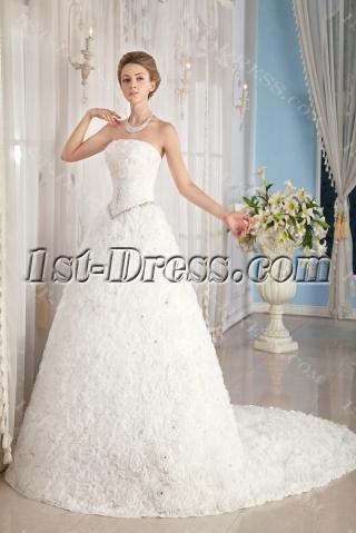Basque 2014 Spring Wedding Dress with Flower