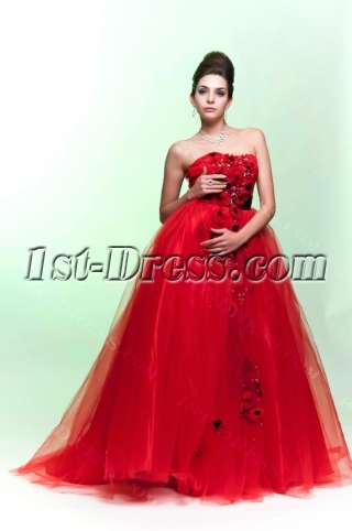 Beautiful Red Empire Wedding Dress with Black Bow