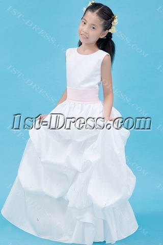 Beautiful White and Pink Girl Mini Bridal Gown