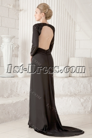 Black Long Sleeves Sexy Backless Evening Dress