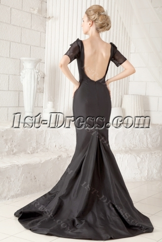 Black Open Back Sexy Wedding Dress with Short Sleeves