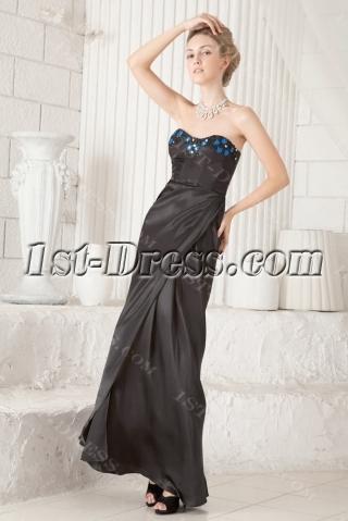 Black and Royal Sheath Little Black Prom Dress:1st-dress.com