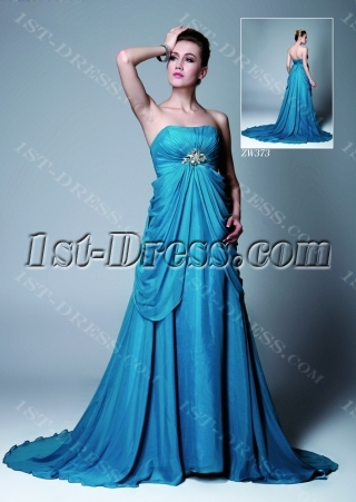Blue Chiffon Empire Maternity Evening Gown