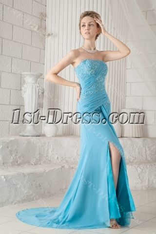 Blue Chiffon Strapless Pretty Prom Dress