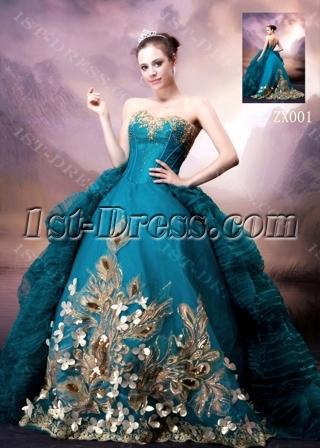 Blue and Gold Luxury Gothic Wedding Dress