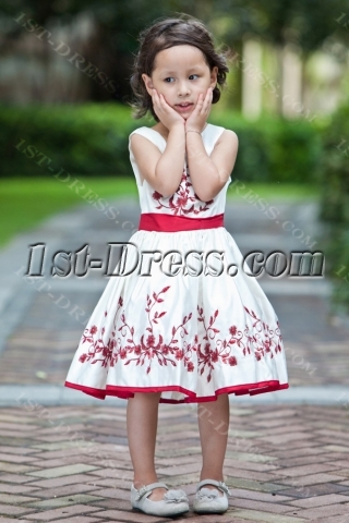 Burgundy Embroidery Cheap Short Flower Girl Dress