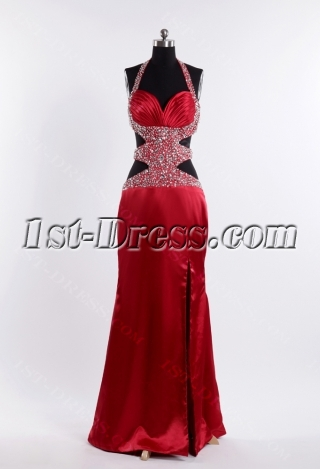 Burgundy Sexy Club Dress with Open Back