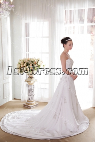 Celtic Embroidered Beautiful Wedding Gowns with Corset