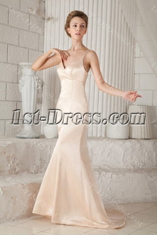 Champagne Plunge Simple Beach Bridal Gowns with Spaghetti Straps