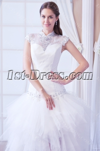 Chic Fashion High-low 2014 Bridal Gowns with Cap Sleeves