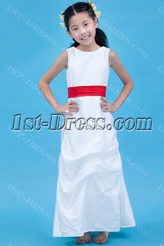 Classic Ankle Length Red Flower Girl Dress
