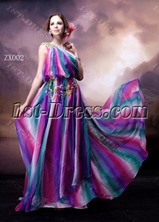 Colorful Bohemian One Shoulder Evening Dress