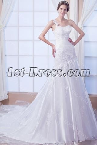 Destination Casual One Shoulder Wedding Gown