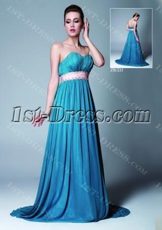 Elegant Blue Long Evening Gown 2013
