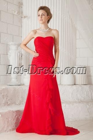Elegant Red Long Chiffon Evening Dress