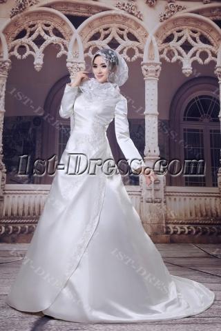 Elegant Satin A-line Muslim Bridal Gown