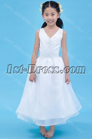 Exclusive Ivory Party Dress for Girl Tea Length