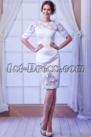 Formal Short Bridal Gowns with Middle Sleeves