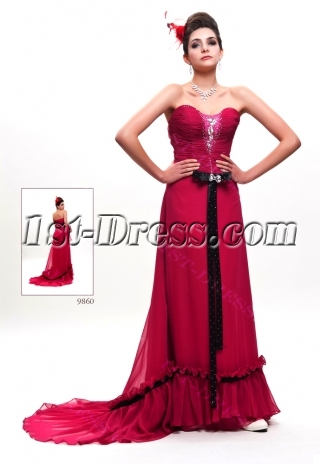 Fuchsia and Black Military Party Dress with Train