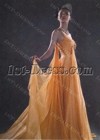 Glamorous Orange One Shoulder Pageant Prom Dresses