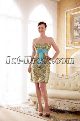 Gold and Blue Graduation Prom Dresses
