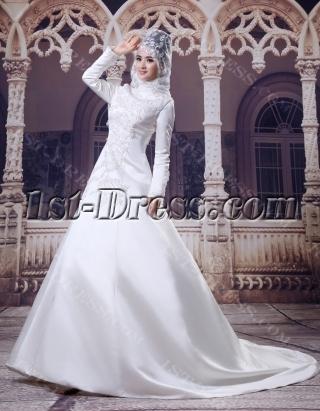 High Neckline Modest Long Sleeves Islamic Wedding Gown