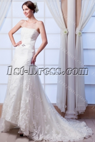 High-low Lace Casual Wedding Dress with Train
