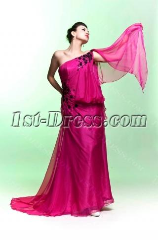 Hot Pink Asymmetrical Neckline Celebrity Dress with Black