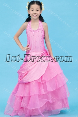 Hot Pink Halter Mini Bridal Gown