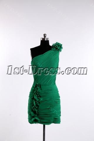 Hunter Green Mini Short Cocktail Dress with One Shoulder