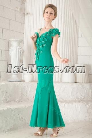 Hunter Green V-neckline Ankle Length Mother of Groom Gown