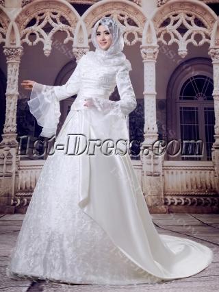Ivory Hijab Wedding Dress with Trumpet Sleeves