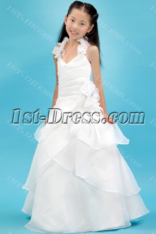 Ivory Organza Beautiful Mini Bridal Gowns for Girls